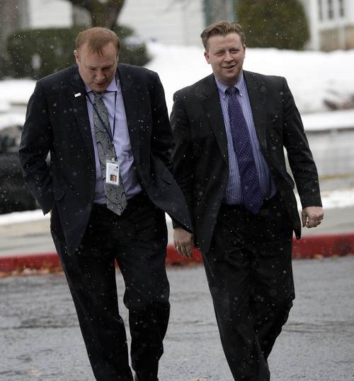 Al Hartmann  |  The Salt Lake Tribune Sen. Jim Dabakis, D-Salt Lake City, left, and Sen. Todd Weiler, R-Woods Cross, walk to Uintah Elementary School Wednesday January 30 to stop in for school lunch. They feel the state should look into the entirety of the state's school lunch program, including funding, and that no child in Utah, should ever, be hungry in a classroom.