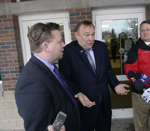 Al Hartmann  |  The Salt Lake Tribune State Senator Todd Weiler, R-Woods Cross, left,  and Senator Jim Dabakis, D-Salt Lake City make comments to the media in the doorway of Uintah Elementary School Wednesday January 30 before stoping in for school lunch.   They feel the state should look into the entirety of the state's school lunch program, including funding, and that no child in Utah, should ever, be hungry in a classroom.