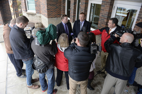 Al Hartmann  |  The Salt Lake Tribune Sen. Todd Weiler, R-Woods Cross, left,  and Sen. Jim Dabakis, D-Salt Lake City, make comments to the media in the doorway of Uintah Elementary School Wednesday January 30 before stoping in for school lunch. They feel the state should look into the entirety of the state's school lunch program, including funding, and that no child in Utah, should ever, be hungry in a classroom.
