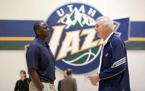 Francisco Kjolseth  |  The Salt Lake Tribune Tyrone Corbin, left, head coach of the Utah Jazz speaks with former coach Jerry Sloan during Media Day at the Zions Bank Basketball Center in Salt Lake on Monday, Sept. 30, 2013.