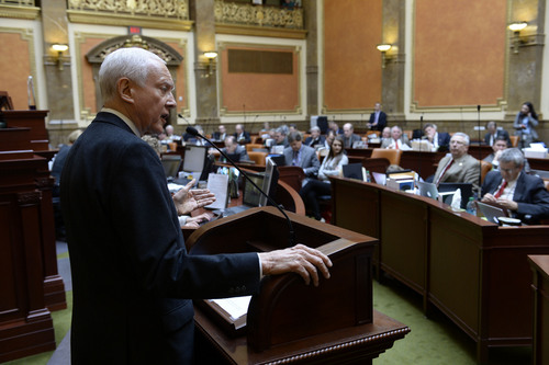 Francisco Kjolseth  |  The Salt Lake Tribune Sen. Orrin Hatch speaks to the Utah House and takes a few questions during the short morning session at the Capitol on Friday.