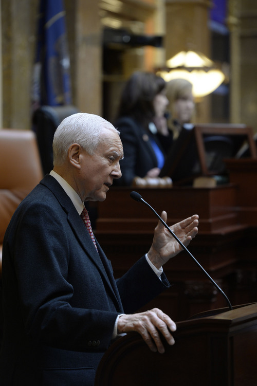 Francisco Kjolseth  |  The Salt Lake Tribune Sen. Orrin Hatch told Utah lawmakers on Friday that chances are the state's attempt to take title to millions of acres of federal land in the state will fail. But he still supports the effort. Friday, Jan. 31, 2014.