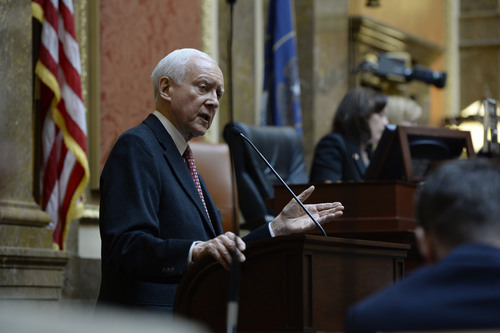 Francisco Kjolseth  |  The Salt Lake Tribune Sen. Orrin Hatch speaks to Utah representatives and takes a few questions during the short morning session at the Capitol on Friday, Jan. 31, 2014.