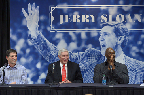 Scott Sommerdorf      The Salt Lake Tribune John Stockton, left, and Karl Malone, right, laugh during a press conference to honor former Jazz coach Jerry Sloan as Sloan relates a story about their time together with the Jazz. Jazz Owner / CEO Greg Miller also spoke, Friday, Jan. 31, 2014.