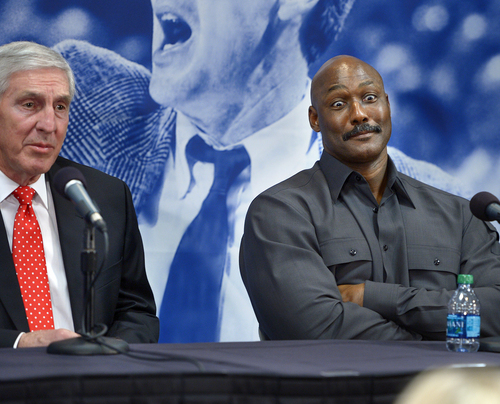 Scott Sommerdorf      The Salt Lake Tribune Karl Malone, right, reacts as former Jazz coach Jerry Sloan tells a story about how Malone had trouble shooting free throws during the early part of his career during a press conference to honor Sloan, Friday, Jan. 31, 2014.
