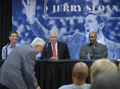 Scott Sommerdorf      The Salt Lake Tribune Former Jazz coach Jerry Sloan, center, jokes with former Jazz coach Frank Layden as Layden slips in late to the press conference honoring Sloan for his time with the Jazz, Friday, Jan. 31, 2014. John Stockton is at left, and Karl Malone at right.