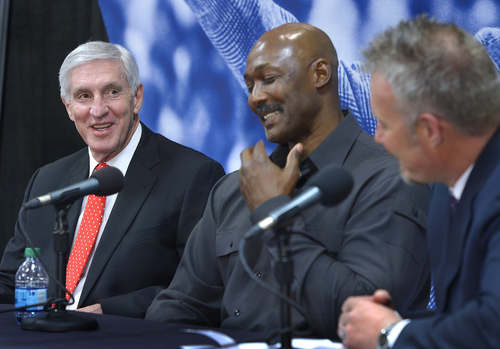Scott Sommerdorf      The Salt Lake Tribune Former Jazz coach Jerry Sloan speaks about his time with John Stockton and Karl Malone as Jazz owner / CEO greg Miller is at right at a press conference held to honor coach Sloan, Friday, Jan. 31, 2014.