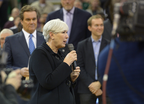 Scott Sommerdorf   |  The Salt Lake Tribune Jazz owner Gail Miller speaks about former Jazz coach Jerry Sloan as he is honored at halftime of the Utah Jazz vs Golden State Warriors game, Friday, Jan. 31, 2014.