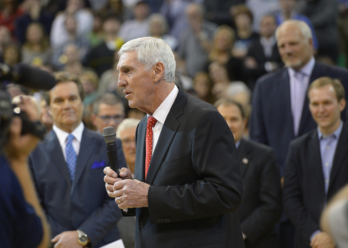 Scott Sommerdorf   |  The Salt Lake Tribune Former Jazz coach Jerry Sloan speaks as he is honored at halftime of the Utah Jazz vs Golden State Warriors game, Friday, Jan. 31, 2014.