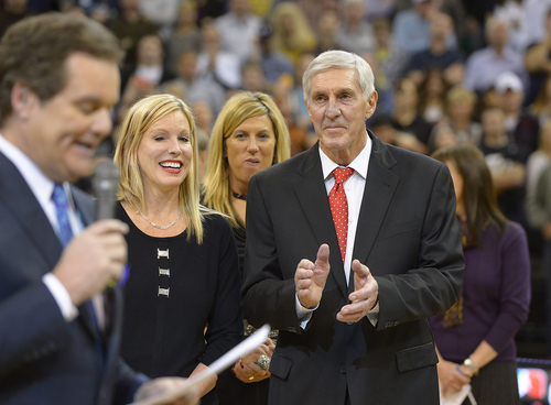 Scott Sommerdorf   |  The Salt Lake Tribune Craig Bolerjack speaks about former Jazz coach Jerry Sloan as Sloan and his wife Tammy listen as Sloan is honored at halftime of the Utah Jazz vs Golden State Warriors game, Friday, Jan. 31, 2014.