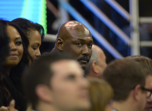 Scott Sommerdorf   |  The Salt Lake Tribune Jazz great Karl Malone watches during first period play as the Jazz hosted the Golden State Warriors, Friday, Jan. 31, 2014.