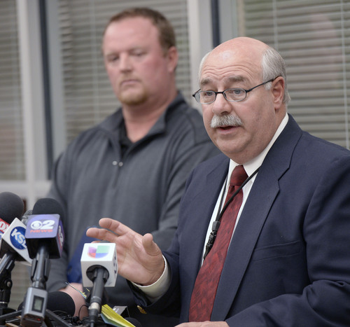 Al Hartmann  |  The Salt Lake Tribune  Utah County Sheriff Jim Tracy names Jose Angel Garcia-Jauregui, who was recently released from prison, as the man police say shot and killed Sgt. Cory Wride, in a press conference in Spanish Fork Friday January 31, 2014.