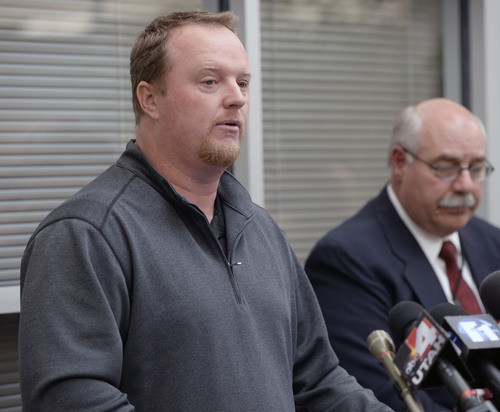 Al Hartmann  |  The Salt Lake Tribune  Johnny Reville, brother-in-law of slain Sgt. Cory Wride, speaks at a press conference in Spanish Fork Friday January 31, 2014.