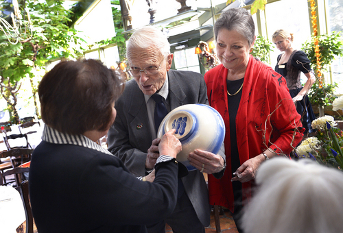 Scott Sommerdorf   |  The Salt Lake Tribune Lennox Tierney speaks in January with Kikuko Yamamoto, left, and Cathy Edens about a bowl that he made in the 1950's in Japan. Tierney perserved Japanese art as Arts and Monuments Commissioner under Gen. Douglas MacArthur after WWII.