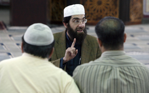 Francisco Kjolseth  |  The Salt Lake Tribune Imam Muhammed S. Mehtar of the Islamic Society of Great Salt Lake in West Valley City leads a discussion following prayers on Monday, May 2, 2011.