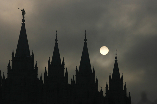 Scott Sommerdorf   |  Tribune file photo The afternoon sun tries to burn through the inversion near the Salt Lake City LDS temple, Wednesday, February 6, 2013.