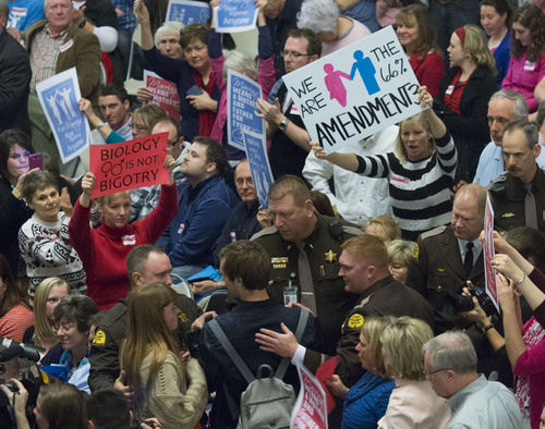 Steve Griffin     The Salt Lake Tribune  Utah Highway Patrol Troopers move into the audience to remove protesters, bottom center, as hundreds of advocates of traditional marriage fill the Rotunda as they rally at the Utah State Capitol in Salt Lake City Wednesday, January 29, 2014.
