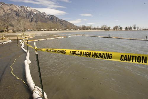 Paul Fraughton  |   Salt Lake Tribune Oil booms along the shore line at Willard Bay State Park.  Wednesday, April 10, 2013