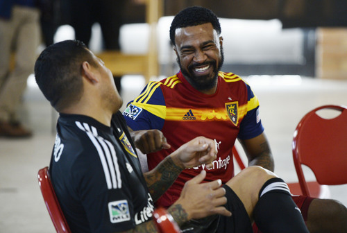 Francisco Kjolseth  |  The Salt Lake Tribune Nick Rimando, left, and Robbie Findley have some fun as Real Salt Lake convenes for its 2014 Media Day four weeks ahead of the season opener on March 8, in Sandy on Tuesday, Feb. 4, 2014.