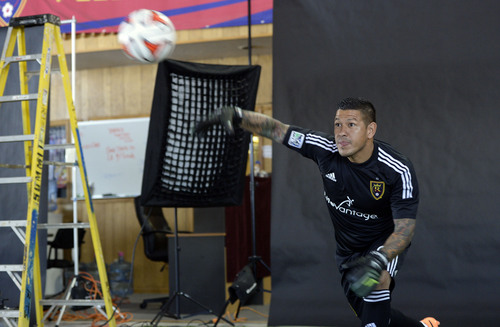Francisco Kjolseth  |  The Salt Lake Tribune Real Salt Lake Nick Rimando tries to get into character for an action portrait as the team convenes for its 2014 Media Day four weeks ahead of the season opener on March 8, at the Ardell Brown Recreational facility in Sandy on Tuesday, Feb. 4, 2014.
