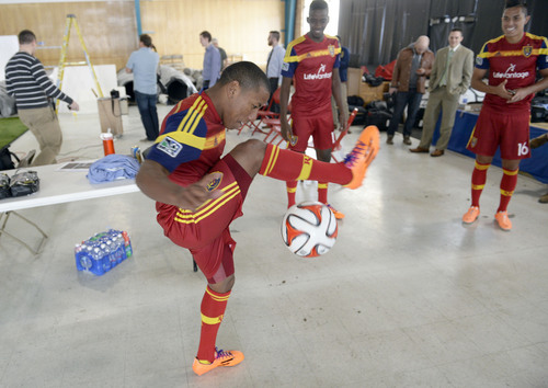 Francisco Kjolseth  |  The Salt Lake Tribune Real Salt Lake player Joao Plata juggles the ball during some down time before going before the cameras as the teame convenes for its 2014 Media Day four weeks ahead of the season opener on March 8, at the Ardell Brown Recreational facility in Sandy on Tuesday, Feb. 4, 2014.