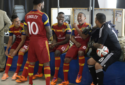 Francisco Kjolseth  |  The Salt Lake Tribune Real Salt Lake players Carlos Salcedo, Robbie Findley, Olmes Garcia, Joao Plata and Nick Rimando, from left, joke around as they convene for its 2014 Media Day four weeks ahead of the season opener on March 8, at the Ardell Brown Recreational in Sandy on Tuesday, Feb. 4, 2014.