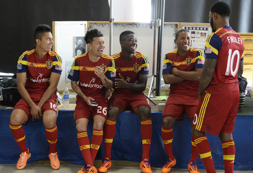 Francisco Kjolseth  |  The Salt Lake Tribune Real Salt Lake players Carlos Salcedo, Sebastian Velasquez, Olmes Garcia, Joao Plata and Robbie Findley, from left, joke around as they convene for its 2014 Media Day four weeks ahead of the season opener on March 8, at the Ardell Brown Recreational in Sandy on Tuesday, Feb. 4, 2014.