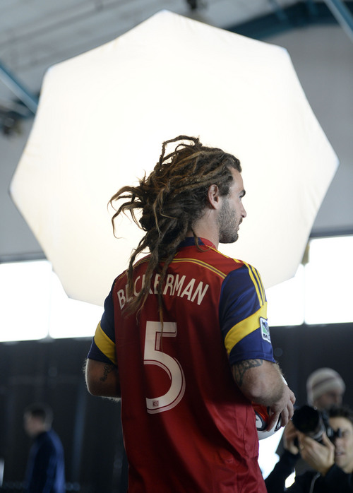 Francisco Kjolseth  |  The Salt Lake Tribune Real Salt Lake convenes for its 2014 Media Day four weeks ahead of the season opener on March 8, as Kyle Beckerman goes before the cameras  in a temporary space at the Ardell Brown Recreational in Sandy on Tuesday, Feb. 4, 2014.