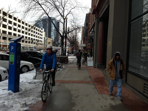 Jim Dalrymple II | The Salt Lake Tribune A bicyclist navigates a sidewalk in downtown Salt Lake City. Data from the Salt Lake City police department shows that downtown and adjacent neighborhoods had more auto-bike collisions than anywhere else in the city.