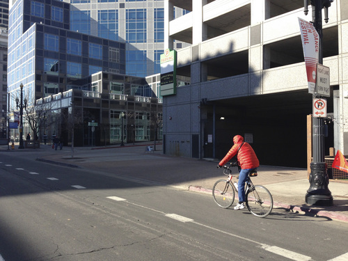 Jim Dalrymple II | The Salt Lake Tribune Cyclists ride in downtown Salt Lake City. Data obtained from the Salt Lake City Police Department shows that downtown generally saw more auto-bike collisions that anywhere else in the city.