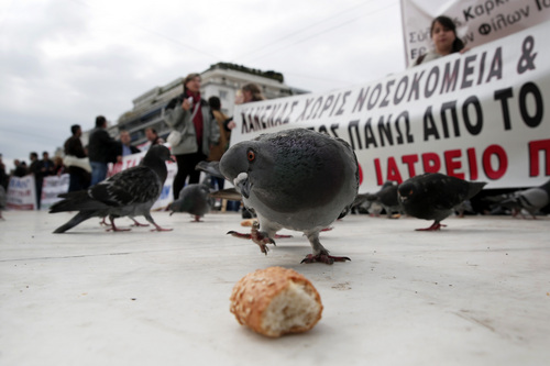 A pigeon eyes a piece of bread outside the Greek Parliament, as anti-austerity protesters hold up banners behind, Athens, Thursday, Feb. 6, 2014. Several hundred people took part in the peaceful demonstration against planned health reforms, which was organized by primary healthcare unions. (AP Photo/Petros Giannakouris)