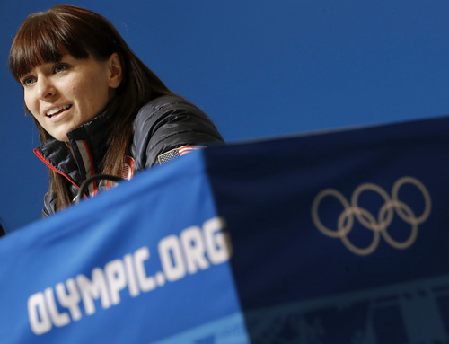US speedskater Heather Richardson speaks during a 2014 Winter Olympics news conference, Thursday, Feb. 6, 2014, in Sochi, Russia. (AP Photo/Patrick Semansky)