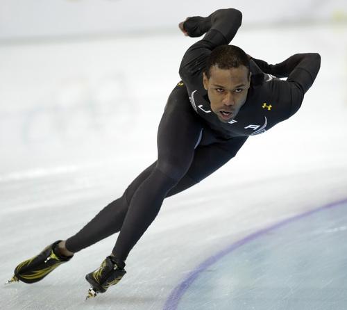 Speedskater Shani Davis of the U.S. trains at the Adler Arena Skating Center during the 2014 Winter Olympics in Sochi, Russia, Thursday, Feb. 6, 2014. (AP Photo/Patrick Semansky)