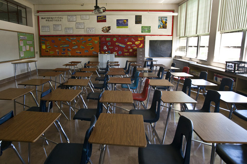 Chris Detrick  |  Tribune file photo  A classroom at West Jordan Middle School. The Utah Senate has OK'd a bill that would allow school districts to change up to six school days a year from classroom instruction to teacher professional development or preparation days.