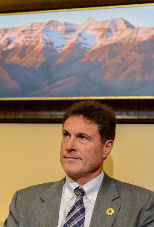 Trent Nelson  |  The Salt Lake Tribune Rep. James Dunnigan speaks about Attorney General John Swallow's resignation, Thursday November 21, 2013 in Salt Lake City.