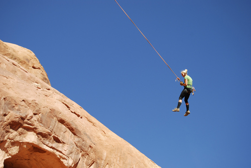Brian Maffly      Tribune file photo  Corona Arch near Moab has become what is billed as the world's largest rope swing after climbers figured out how to adapt climbing gear to set up a thrilling 250-foot pendulum ride under the arch. Concerned with liability issues, state officials recently shut down the arch, which is on state-owned land, for commercially guided swinging, pictured here on Nov. 4.  A Utah man later died in a swinging accident from the arch during a private outing.