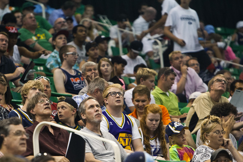 Chris Detrick  |  The Salt Lake Tribune Utah Jazz fans watch the NBA Draft at EnergySolutions Arena as it is televised live from Barclays Center in Brooklyn, New York Thursday June 27, 2013.