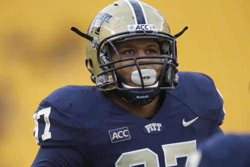 Pittsburgh defensive lineman Aaron Donald (97) during warmup before an NCAA football game between Pittsburgh and Miami on Friday, Nov. 29, 2013 in Pittsburgh. (AP Photo/Keith Srakocic)