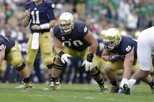 Notre Dame offensive tackle Zack Martin (70) lines up against Michigan State during the first half of an NCAA college football game in South Bend, Ind., Saturday, Sept. 21, 2013. (AP Photo/Michael Conroy)