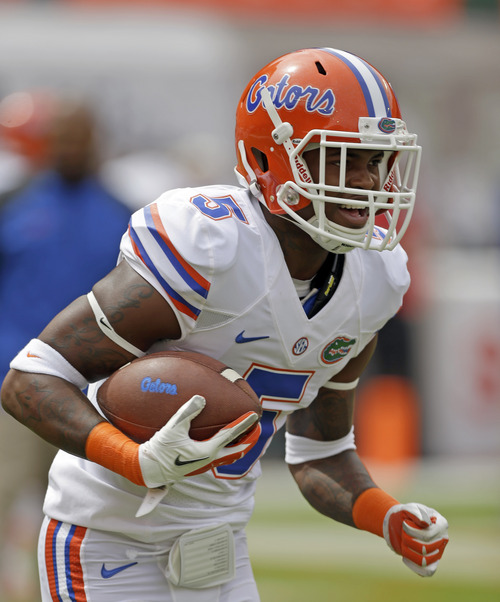 Florida defensive back Marcus Roberson (5) is shown before the NCAA football game against Miami, Saturday, Sept. 7, 2013, in Miami Gardens, Fla. (AP Photo/Alan Diaz)