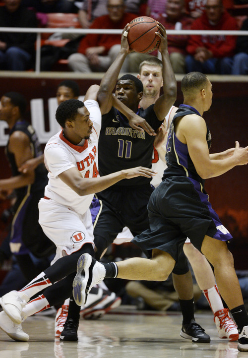 Francisco Kjolseth  |  The Salt Lake Tribune Washington Huskies guard Mike Anderson (11) finds himself tangled with the Utah defense in game action at the Huntsman Center on the University of Utah campus on Thursday, Feb. 6, 2014.