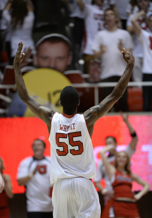 Francisco Kjolseth  |  The Salt Lake Tribune Utah Utes guard Delon Wright (55) acknowledges the fans after stealing a ball on his way to a slam dunk against Washington in game action at the Huntsman Center on the University of Utah campus on Thursday, Feb. 6, 2014.