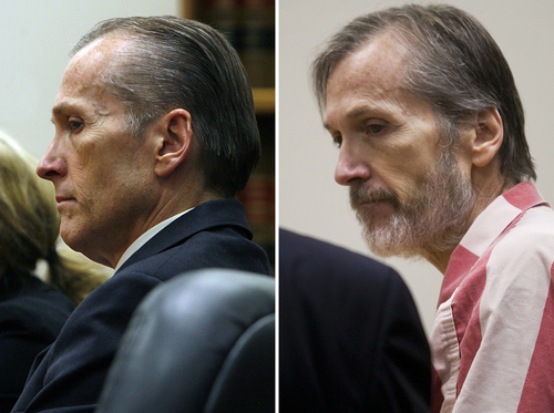 Photos by Scott Sommerdorf   |  The Salt Lake Tribune and Mark Johnston  |  The Daily Herald  At left, Martin MacNeill listens to court proceedings after he was found guilty of murder and obstruction of justice early Saturday morning, November 9, 2013. On the right, Martin MacNeill leaves the courtroom after a hearing in his sex abuse case at 4th District Court in Provo Thursday, Jan. 23, 2014.