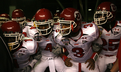 Chris Detrick  |  The Salt Lake Tribune Utah quarterback Brian Johnson (3)  and many of his teammates prepare to take the field as the Utes face Alabama in the 75th Anniversary Sugar Bowl in New Orleans, Louisiana, Friday, January 2, 2008.