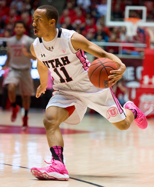 Trent Nelson  |  The Salt Lake Tribune Utah Utes guard Brandon Taylor (11) with the ball as the University of Utah hosts Washington State, NCAA basketball at the Huntsman Center Saturday February 8, 2014 in Salt Lake City.