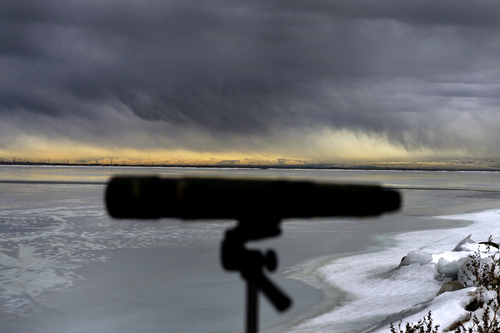 Scott Sommerdorf   |  The Salt Lake Tribune A storm blows in behind a spotting scope at Bald Eagle Day at Farmington Bay Waterfowl Management Center, Saturday, Feb. 8, 2014.