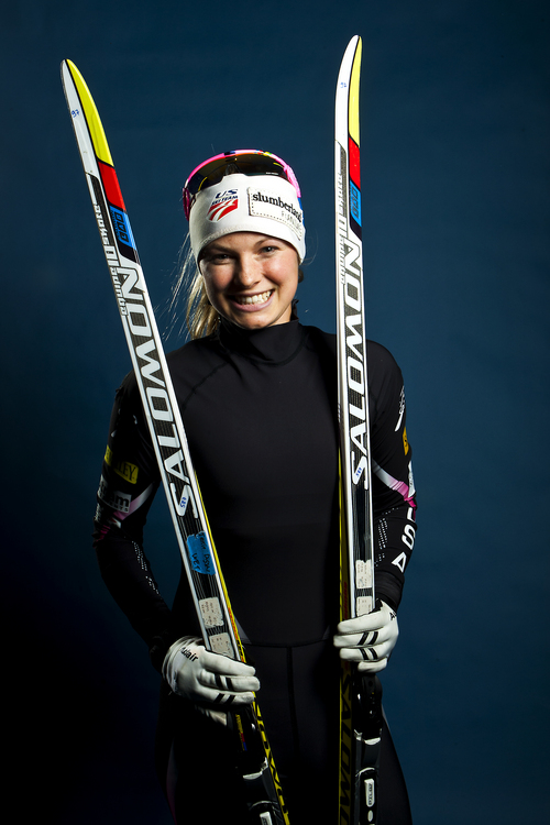 Chris Detrick  |  The Salt Lake Tribune Cross country skiing athlete Jessie Diggins poses for a portrait during the Team USA Media Summit at the Canyons Grand Summit Hotel Wednesday October 2, 2013.