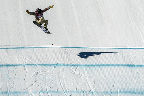 KRASNODAR KRAI, RUSSIA  - JANUARY 8: Sage Kotsenburg, of Park City, competes in the Men's Slopestyle Finals at the Rosa Khutor Extreme Park during the 2014 Sochi Olympic Games Saturday February 8, 2014. Kotsenburg won the gold medal with a score of 93.50.  (Photo by Chris Detrick/The Salt Lake Tribune)