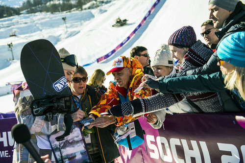 KRASNODAR KRAI, RUSSIA  - JANUARY 8: Sage Kotsenburg, of Park City, signs autographs for fans after winning in the Men's Slopestyle Finals at the Rosa Khutor Extreme Park during the 2014 Sochi Olympic Games Saturday February 8, 2014. Kotsenburg won the gold medal with a score of 93.50.  (Photo by Chris Detrick/The Salt Lake Tribune)