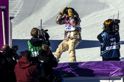 KRASNODAR KRAI, RUSSIA  - JANUARY 8: Sage Kotsenburg, of Park City, reacts after competing in the Men's Slopestyle Finals at the Rosa Khutor Extreme Park during the 2014 Sochi Olympic Games Saturday February 8, 2014. Kotsenburg won the gold medal with a score of 93.50.  (Photo by Chris Detrick/The Salt Lake Tribune)